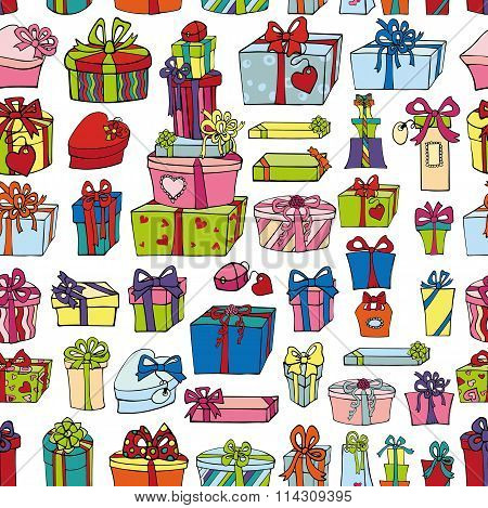 Colored gift boxes seamless pattern.Holiday Doodles