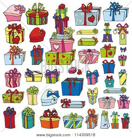 Colored gift boxes.Holiday Doodle set