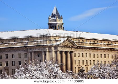 Commerce Department Old Post Office After The Snow Constitution Avenue Washington Dc