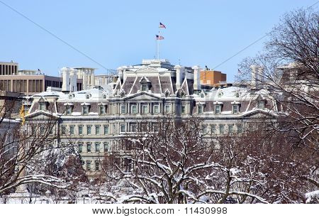 Old Excecutive Office Building After The Snow Constitution Avenue Washington Dc