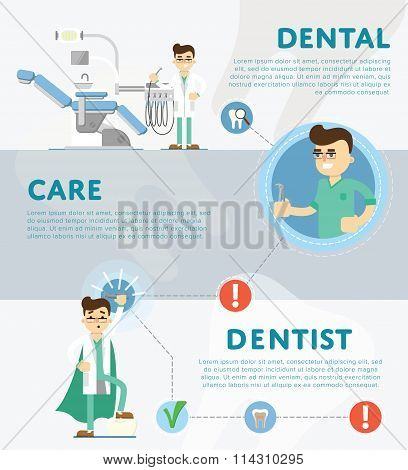 Dental infographics of vector illustration of dentist office or dental clinic. Tooth care. Dental care. Tooth oral brush toothpaste. Dental illustration. Dental tools. Dentist work. Dental service.
