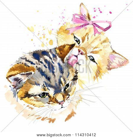 Cute cat T-shirt graphics, watercolor cat family illustration with splash watercolor textured backgr