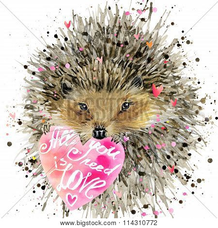 watercolor hedgehog. hedgehog illustration with valentines heart, splash watercolor textured backgro