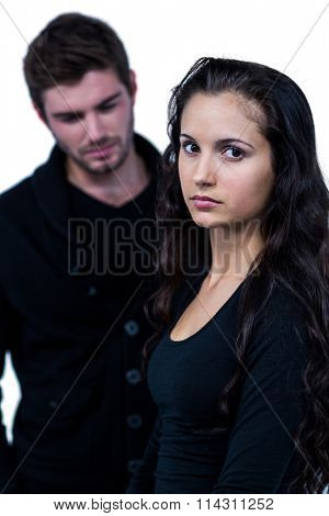 Sad couple on white background