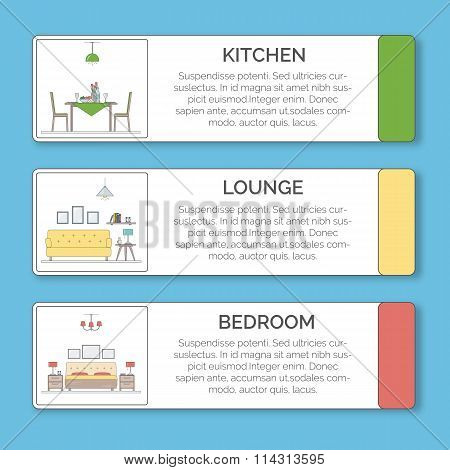 Infographic Elements of interior design. Kitchen, lounge, bedroom in different colors.