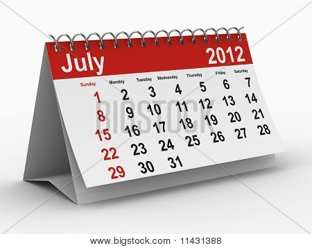 2012 Year Calendar. July. Isolated 3D Image