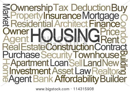 Housing Word Cloud on White Background