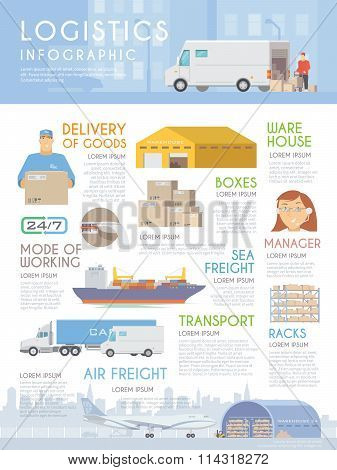 Flat vector infographic. Logistics.