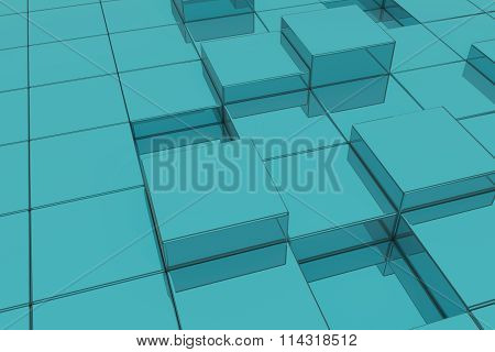 Extruded Blue Glass Cubes