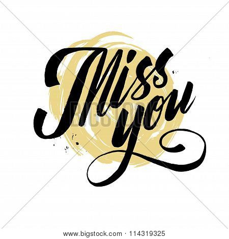Hand drawn miss you card. vector illustration