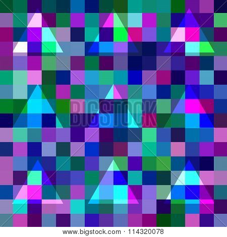 Abstract geometric pixelated background with blending triangles
