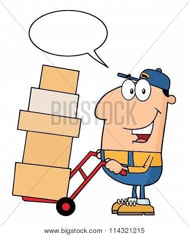 Delivery Man Cartoon Character Using A Dolly To Move Boxes