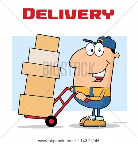Happy Delivery Man Character