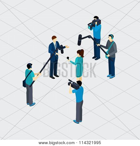 Journalist Profession Teamwork Isometric Banner