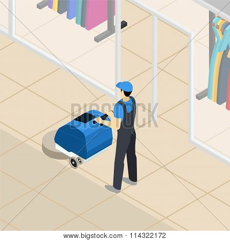 Professional cleaner at work isometric banner