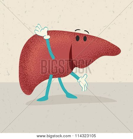 retro cartoon of an happy healthy human liver