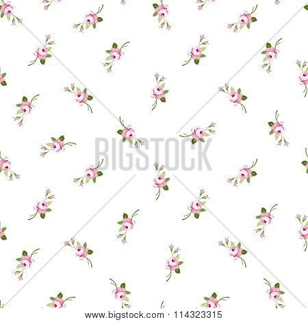 Seamless Floral Pattern With Little Flowers Pink Roses