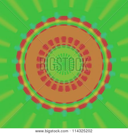Abstract round radiant red orange yellow green pattern