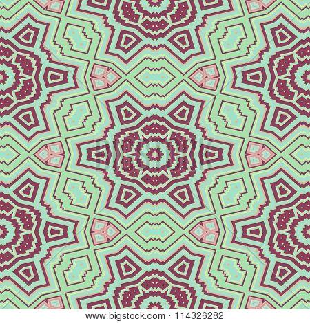 Abstract decorative turquoise purple seamless ornamental geometric pattern
