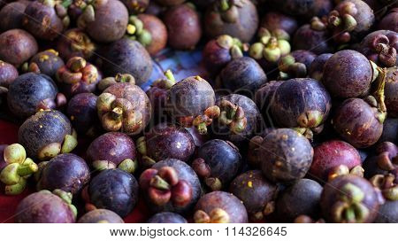 Pile Background Of Mangosteen, Queen Of Fruit