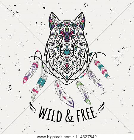 Vector Colorful Illustration Of Tribal Style Wolf With Ethnic Ornaments, Feathers, Threads.