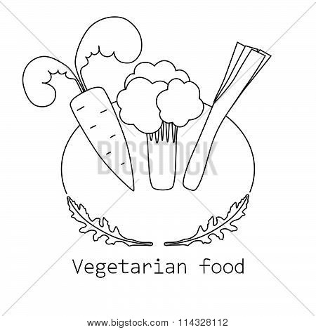 Vegetarian food mono line logo with carrot, broccoli and leek
