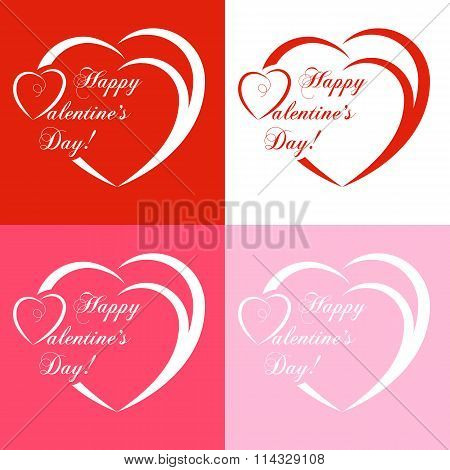 Set Of Banners For Design Posters Or Invitations On Valentine's Day With Cutest Abstract Symbol