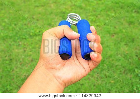 Hand Grip Strengthener On The Left Hand For Physiotherapy