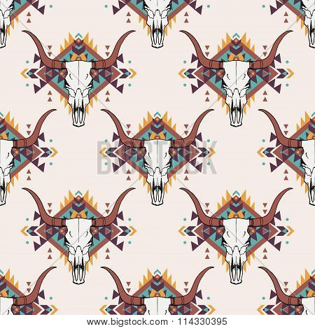 Vector Tribal Seamless Pattern With Bull Skull And Decorative Ethnic Ornament. Boho Style.