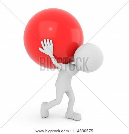 White 3D Human Carries Red Sphere