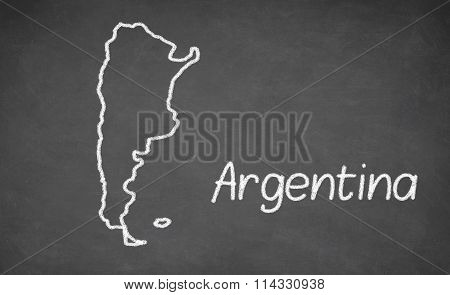 Argentina map drawn on chalkboard