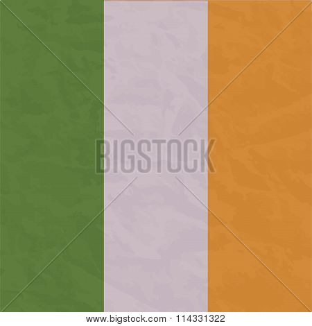 Ireland flag painted by brush hand paints. Art flag.