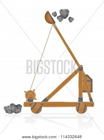 Old Wooden Catapult Shooting Stones Vector Illustration