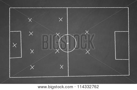 football field drawn with chalk on blackboard
