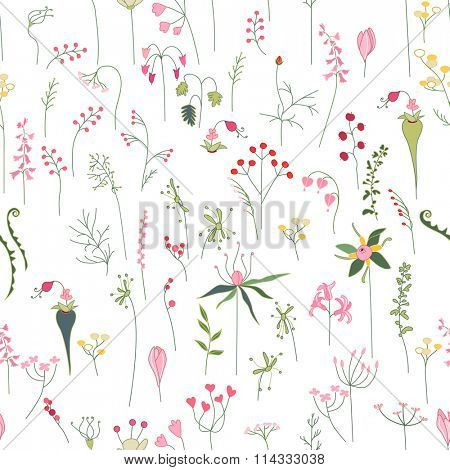Seamless pretty pattern with stylized forest flowers and herbs. Endless texture for your design, announcements, greeting cards, posters, advertisement.