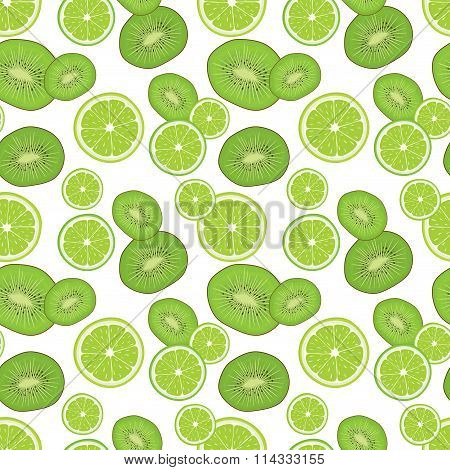 Seamless background with fresh green kiwi and lime slices. Vector illustration