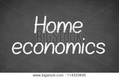 Home economics lesson on blackboard or chalkboard.