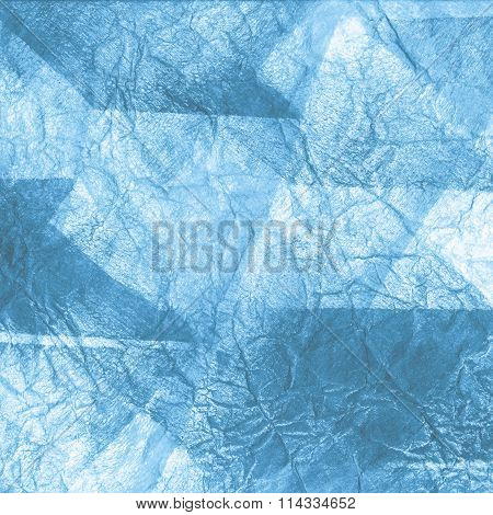 Blue abstraction, watercolor art. Art composed of blue ice bricks, different shades, Flash Light on