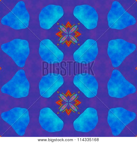 Abstract seamless blue violet red ornamental kaleidoscopic pattern