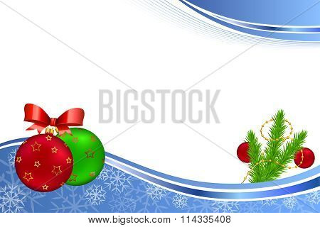 Background abstract blue new year Christmas ball red green yellow gold frame illustration vector