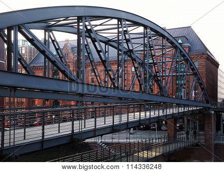 Bridge Kibbelstegbrucke, Hamburg, Germany
