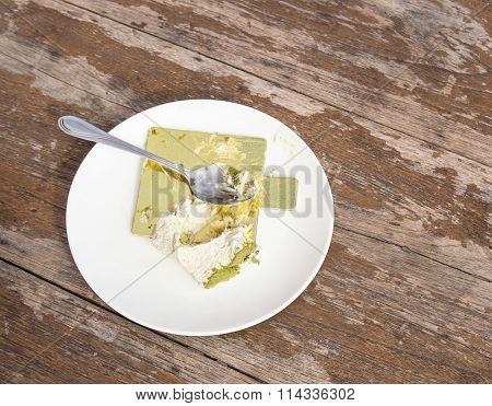 Crumb Cake In White Plate On Wooden Table