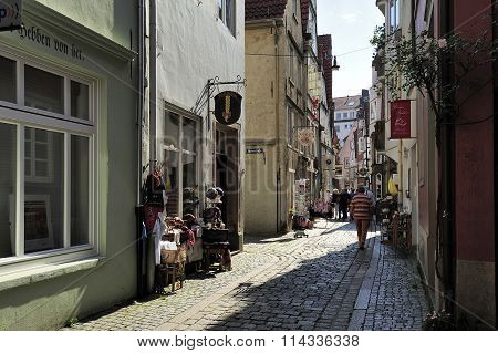 Old Street At Schnoor Quarter, Oldest District Of Bremen, German