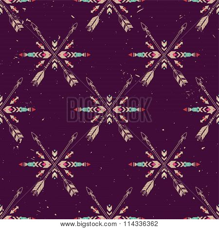 Vector Grunge Seamless Pattern With Crossed Ethnic Arrows And Tribal Ornament. Boho And Hippie Style