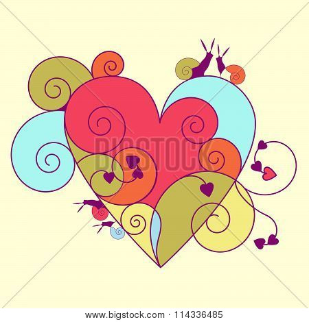 Multi-colored heart with snails