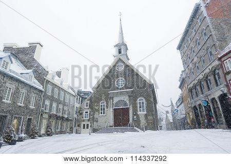Quebec city famous landmark.Place Royale.