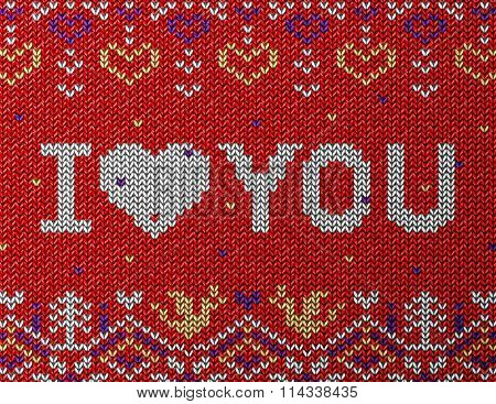 Card Of Valentine's Day With Knitted Texture
