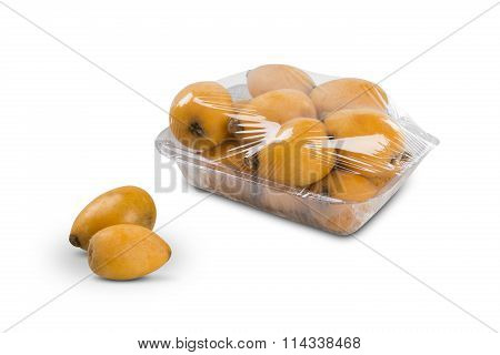 Loquat Medlar Fruit On White Background.