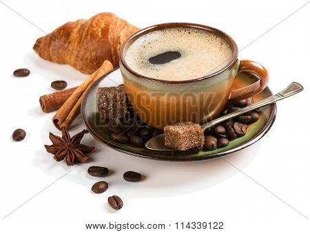 Coffee With Spices And Croissant.