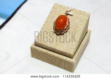 Chinese Amulet Made Of Red Round Stone